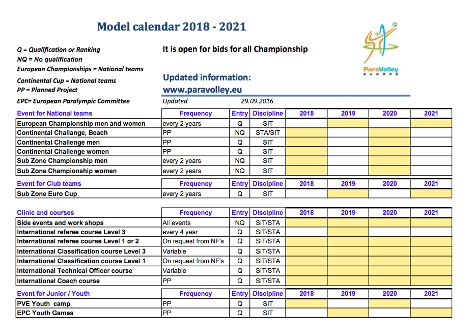 2018 2021 Pve Model Calendar Paravolley Europe